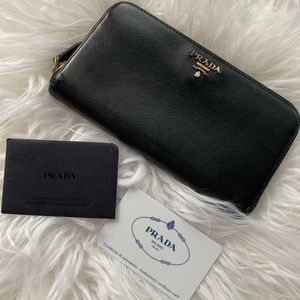 Authentic black Prada Saffiano Long Wallet